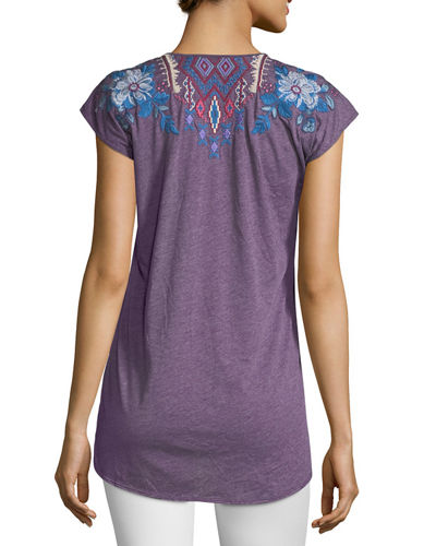 Dexter Cap-Sleeve Embroidered Top, Plus Size
