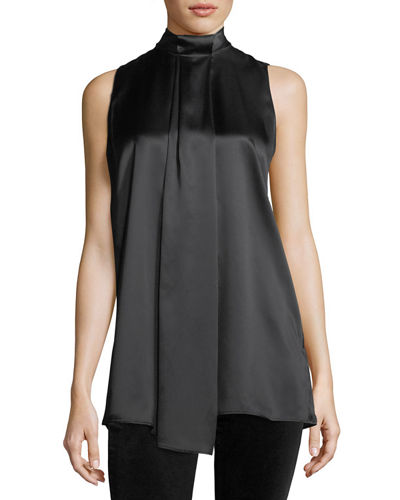 Callie Sleeveless Luxe Silk Charmeuse Blouse