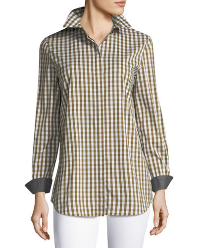 Brody Long-Sleeve Hampton Check Blouse