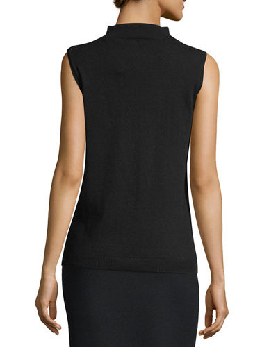 Sleeveless Mock-Neck Sequin-Trim Cashmere Pullover