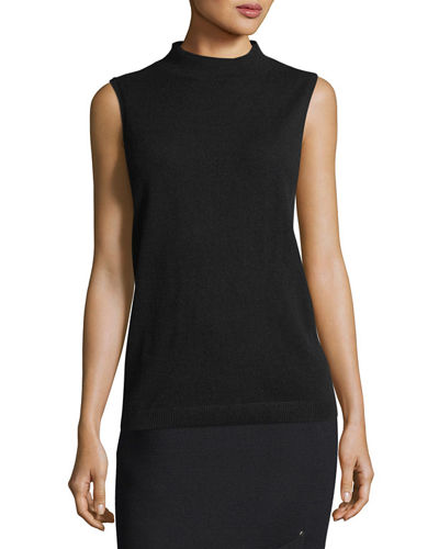 Lafayette 148 New York Sleeveless Mock-Neck Sequin-Trim Cashmere