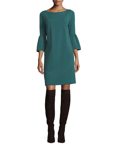 Marissa 3/4-Bell-Sleeve Punto Milano Dress