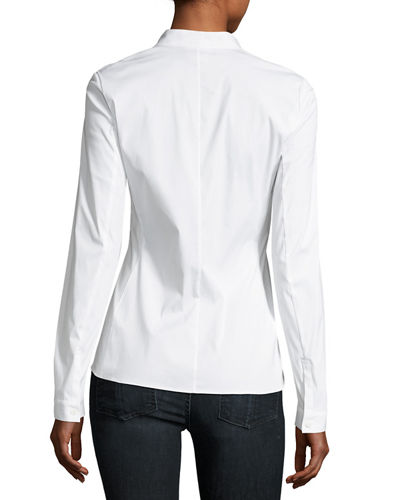 Erling Zip-Front Stretch-Cotton Blouse