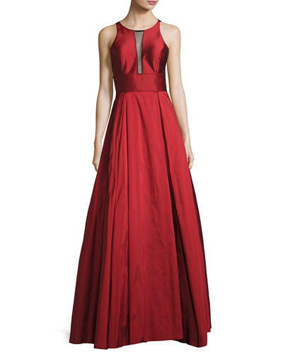 Sleeveless Pleated Taffeta Gown