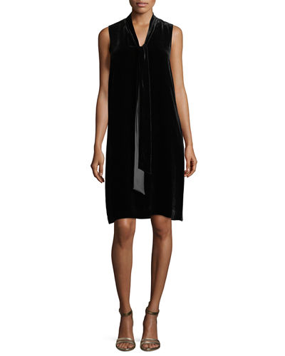 Ronan Sleeveless Tie-Neck Velvet Dress