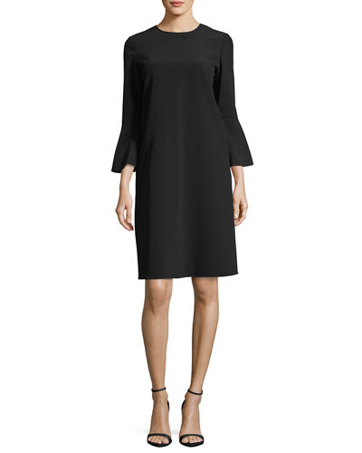 Sidra 3/4-Bell-Sleeve Emory Cloth Dress