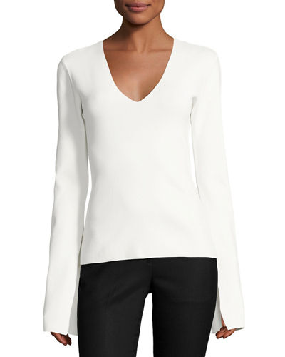 Orlina V-Neck Slit-Cuff Crepe Top