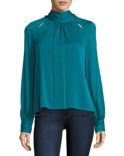 Simona Tie-Neck Stretch-Silk Blouse