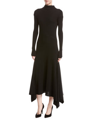 Theory Rib - knit Panel Handkerchief - hem Sweater Dress
