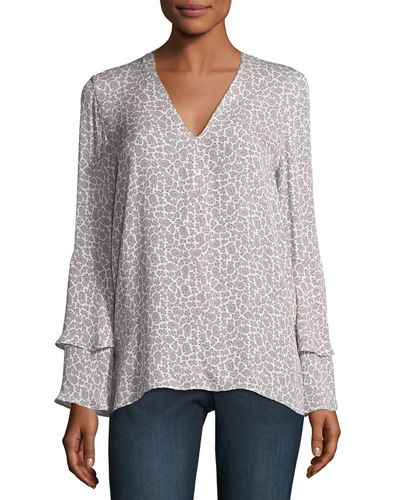 Shirley Long-Sleeve Paisley Silk Blouse