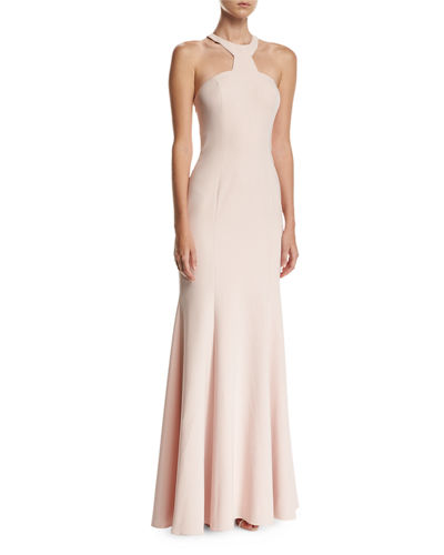 Mayall Open-Back Halter-Neck Gown, Blush