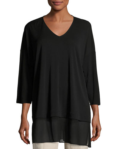 3/4-Sleeve Silk Jersey Blouse, Plus Size