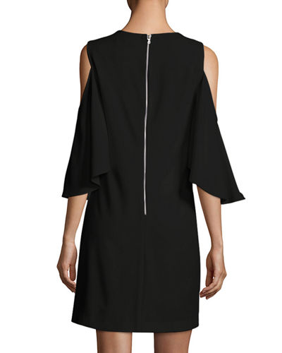 Coley Cold-Shoulder Jewel-Neck A-line Cocktail Dress