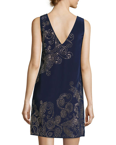 Glitterati Embellished Paisley Silk Shift Dress