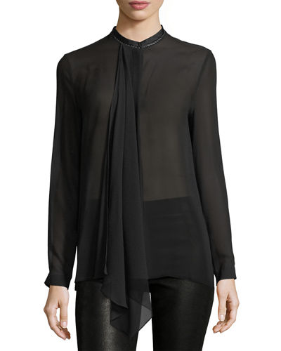 Vincenza Long-Sleeve Sheer Silk Blouse