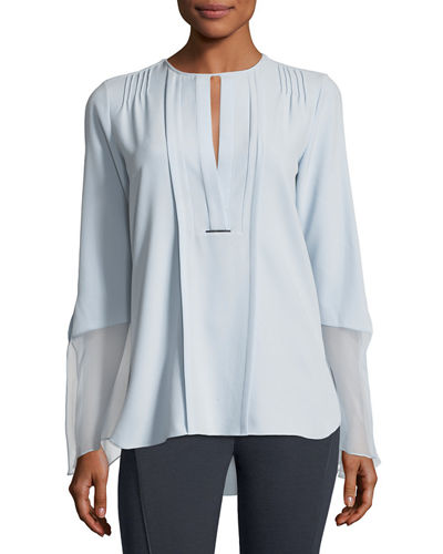 Owen Long-Sleeve Pleated Blouse w/ Silk Chiffon Trim