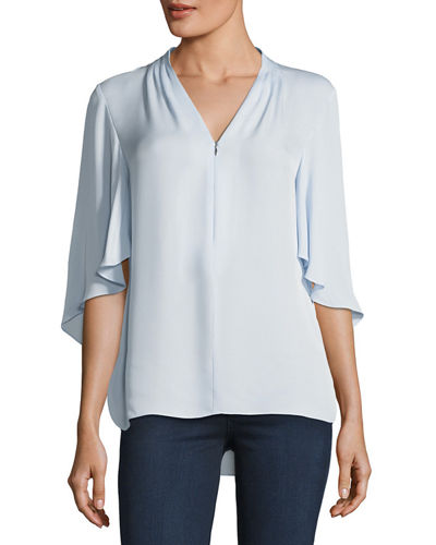 Porter 3/4-Sleeve Silk Blouse