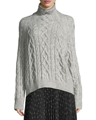 Oversized Cable-Knit Turtleneck Sweater