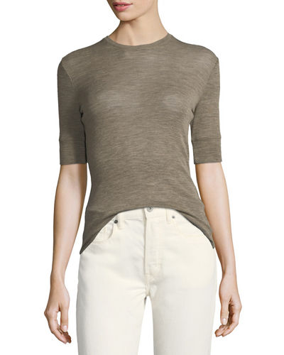 Short-Sleeve Crewneck Fitted Wool Top