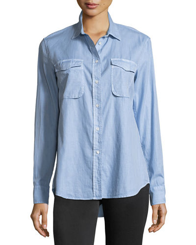 Long-Sleeve Button-Front Utility Shirt