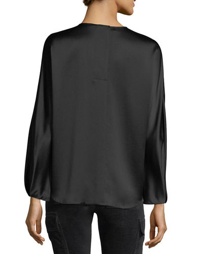 Slit-Back Long-Sleeve Satin Blouse