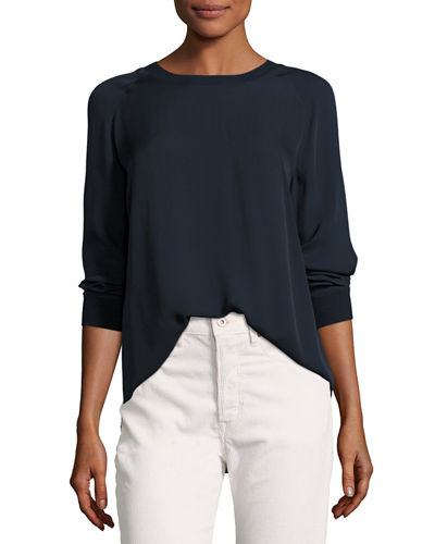 Rib-Trimmed Long-Sleeve Silk Blouse