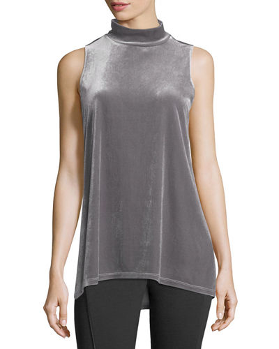 Murray Sleeveless Mock-Neck Velvet Top