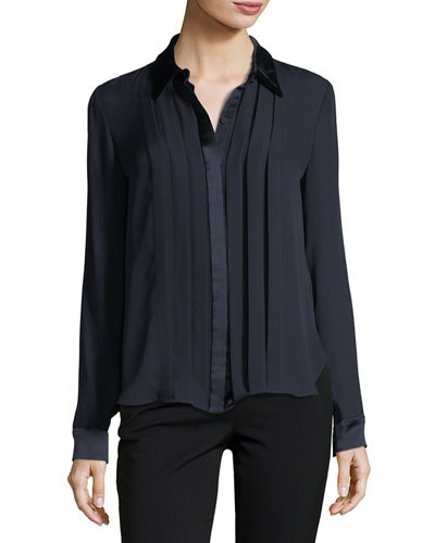 Izarra Long-Sleeve Satin-Trim Silk Blouse
