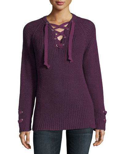 Boundless Lace-Up Sweater, Plus Size