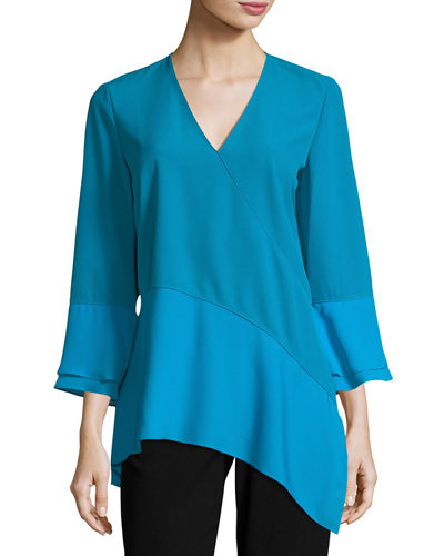 Reeva Long-Sleeve Seamed Knit Blouse