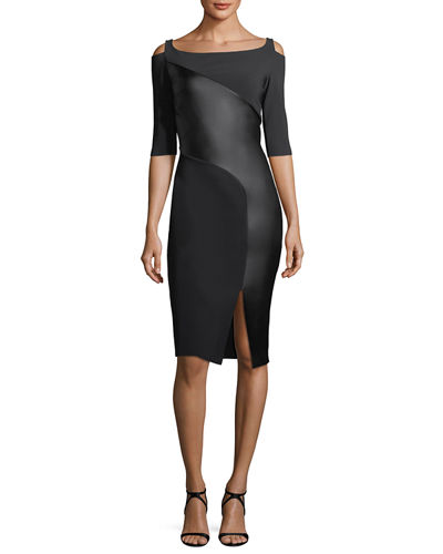 Althaia Cold-Shoulder Cocktail Dress w/ Asymmetric Faux Leather Panel