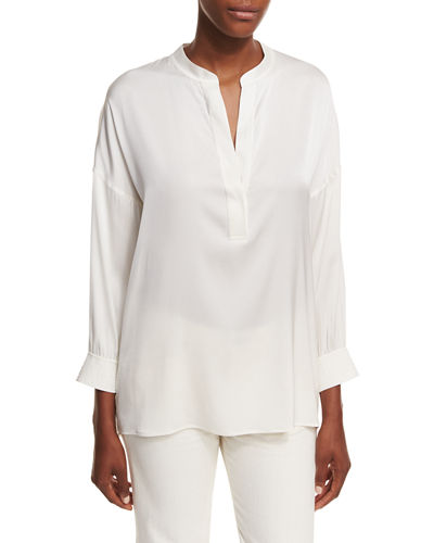 Shirred-Back Draped Silk Blouse