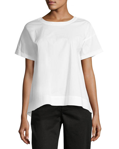 Boxy Round-Neck Stretch-Cotton Lawn Shirt, Petite