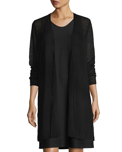 Sheer Long Cardigan w/ Side Slits, Plus Size