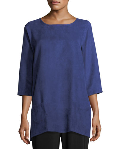 Modern Faux-Suede Two-Pocket Tunic, Petite