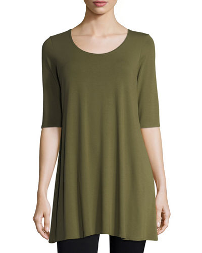 Half-Sleeve Scoop-Neck Jersey Tunic, Petite