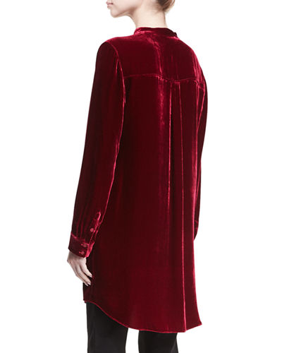 Long Washable Velvet Tunic Top, Petite