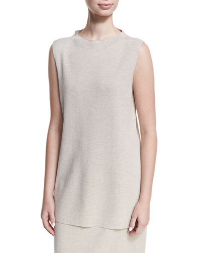 Mock-Neck Sleeveless Washable Crepe Tunic, Plus Size