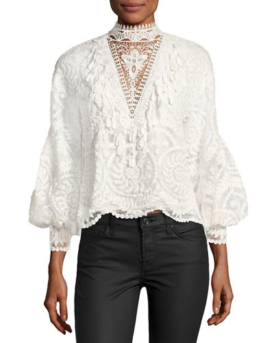 Yadira Bishop-Sleeve Silk Lace Blouse
