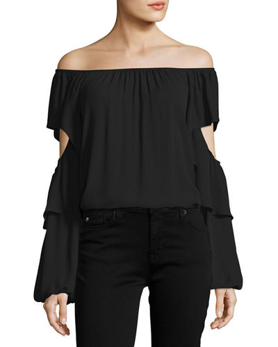 Kobi Halperin Wiley Off-the-Shoulder Silk Blouse