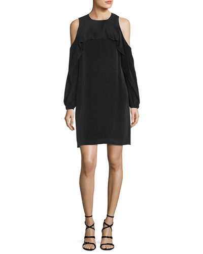 Raina Cold-Shoulder Silk Popover Dress