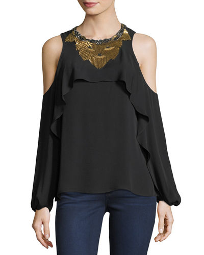 Rosalie Cold-Shoulder Beaded Silk Blouse