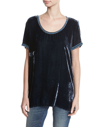 Dexter Velvet & Embroidered Georgette Tee