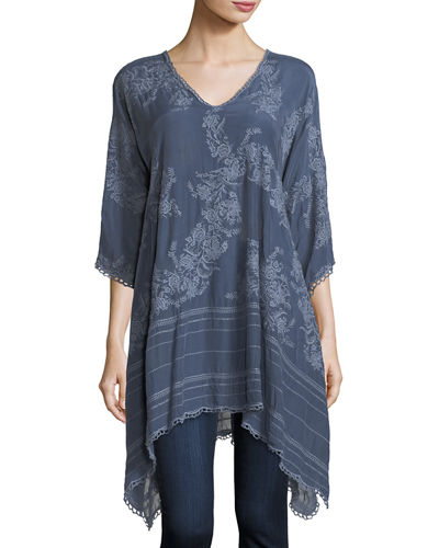Leaf Garden Embroidered Georgette Tunic, Plus Size