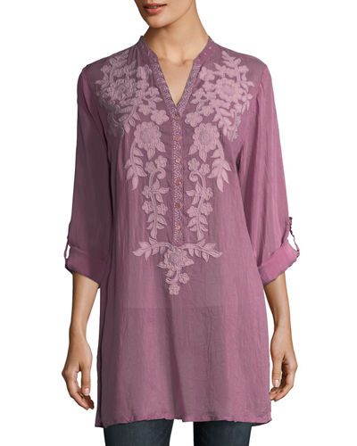 Allie Sheer Georgette Blouse w/ Floral Appliqué