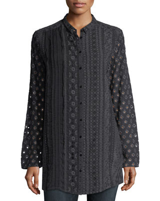 Johnny Was Patule Button - Front Embroidered Georgette Shirt, Plus Size