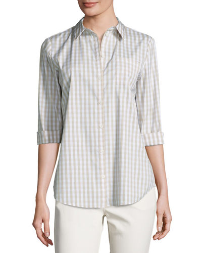Wisteria 3/4-Sleeve Button-Front Check Top