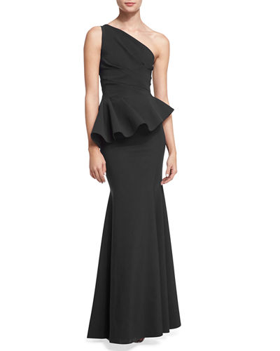 Desy One-Shoulder Peplum Gown Notte