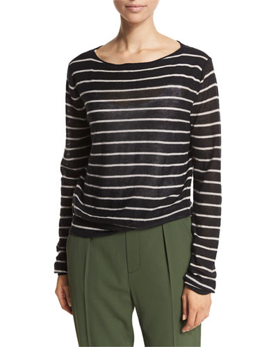 Striped Cashmere Boat-Neck Sweater