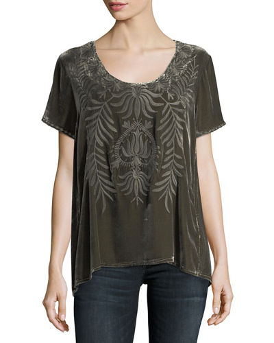 Saskla Flutter-Sleeve Embroidered Velvet Top, Plus Size